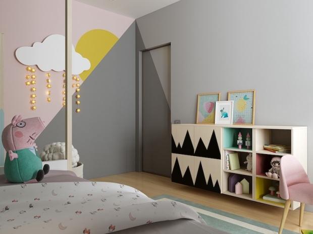 chambre-enfant-bois-tons-pastel-gris-guirlandes-étoiles