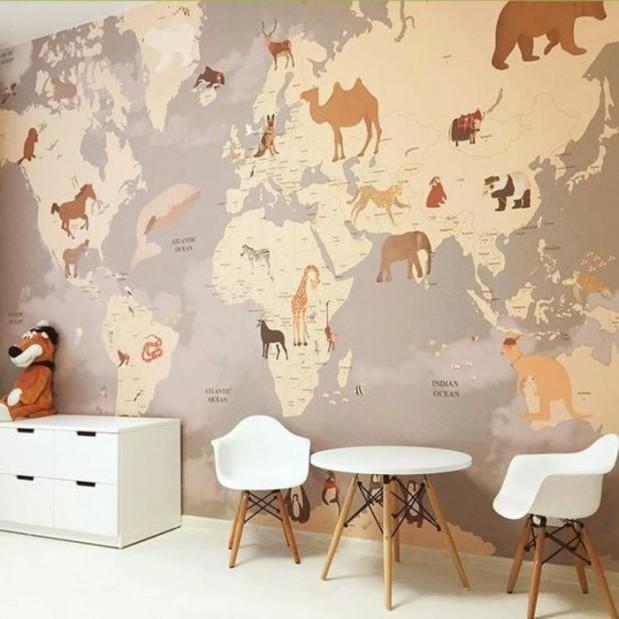 chambre-enfant-papier-peint-mappemonde-design-scandinave